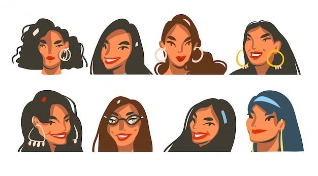 Illustrazioni grafiche di riserva astratte disegnate a mano con il insieme stabilito della raccolta dei fronti delle femmine di giovane stile di vita positivo felice isolato su fondo bianco