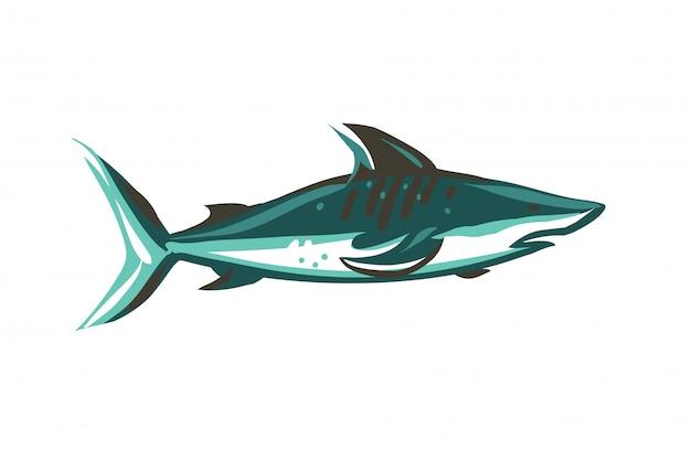 Illustrazione di riserva astratta disegnata a mano con lo squalo di nuoto subacqueo che attinge il fondo bianco di colore.