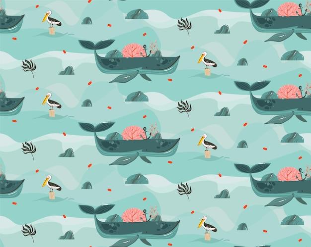 Illustrazioni astratte disegnate a mano del fondo dell'oceano di scena della spiaggia di ora legale