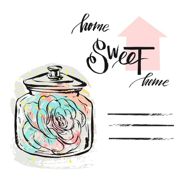 Illustrazione strutturata astratta disegnata a mano con pianta grassa in barattolo di vetro e calligrafia moderna scritta a mano citazione casa dolce casa isolata decorazione scandinava.