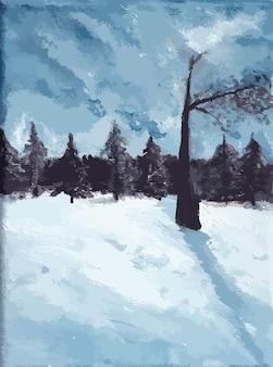 Pittura acrilica disegnata a mano della foresta del paesaggio invernale
