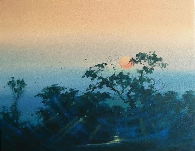 Paesaggio della natura della pittura di colore acrilico disegnato a mano