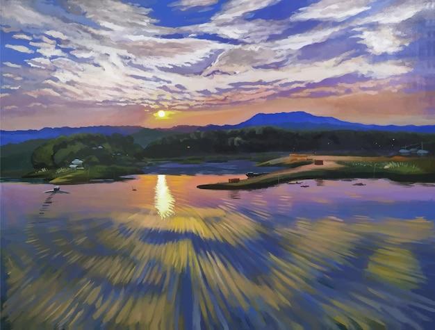 Riflessione e montagna dell'acqua di colore acrilico disegnato a mano, illustrazione del paesaggio della natura di sera di vista del cielo