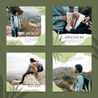 Collezione di post di instagram avventura disegnata a mano con foto