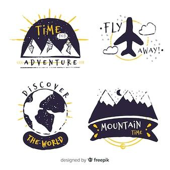 Collezione di logo avventura disegnata a mano Vettore Premium