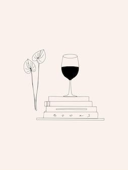 Illustrazione di moda estetica disegnata a mano con bicchiere lineare di libri di vino e fiori line art