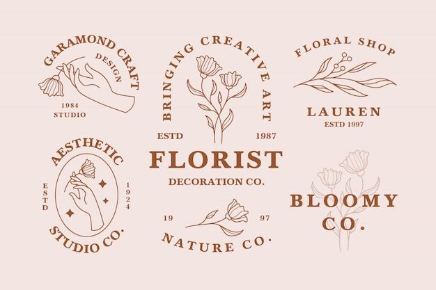 Insieme di modelli di logo femminile estetico disegnato a mano
