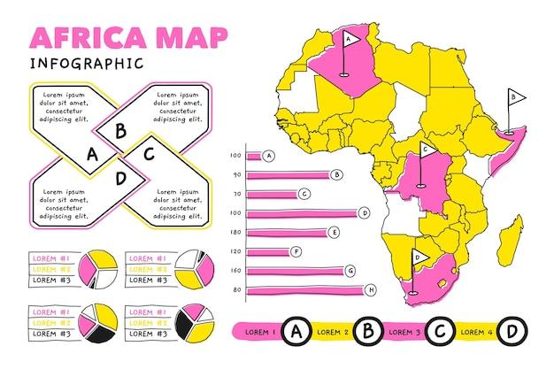 Disegnata a mano africa mappa infografica