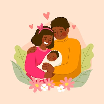 Famiglia afro-americana disegnata a mano con un bambino