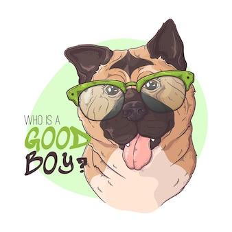 Cane con gli occhiali akita disegnato a mano