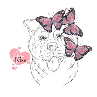 Cane akita disegnato a mano con farfalle