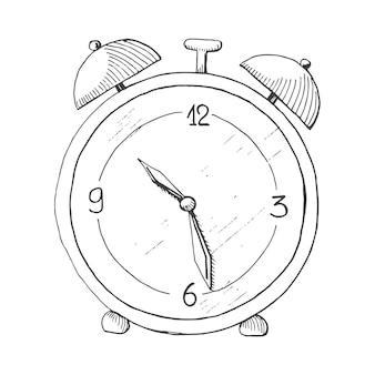 Sveglia disegnata a mano isolata su priorità bassa bianca. illustrazione vettoriale di uno stile di schizzo.