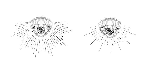 Occhio che vede tutto disegnato a mano con raggio di luce