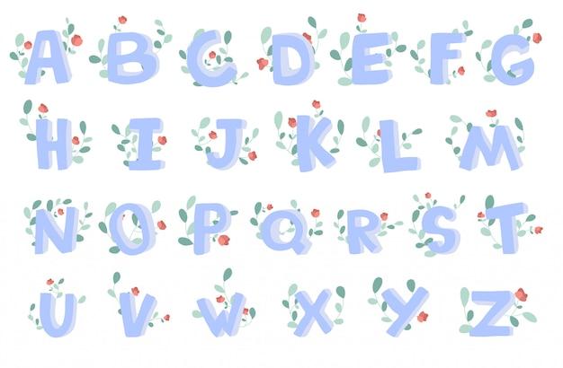 Alfabeto disegnato a mano con decorazioni floreali, font, lettere.