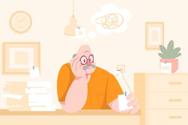 Illustrazione disegnata a mano di concetto di alzheimer
