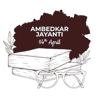 Illustrazione disegnata a mano di ambedkar jayanti Vettore Premium