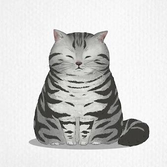 Disegnato a mano di gatto american shorthair in stile acquerello