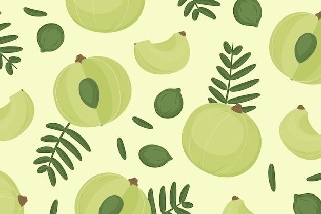 Sfondo di frutta amla disegnata a mano