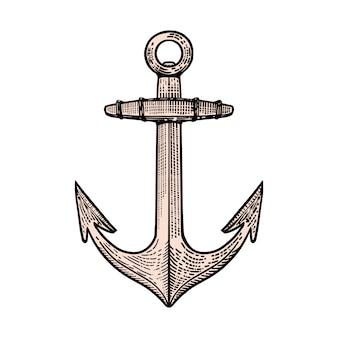 Illustrazione di ancoraggio disegnata a mano in stile incisione. elemento per poster, maglietta, emblema, segno. immagine