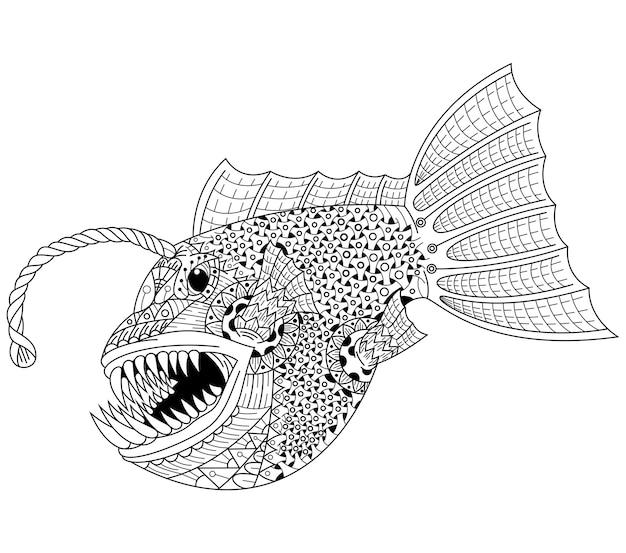 Disegnato a mano di rana pescatrice in stile zentangle