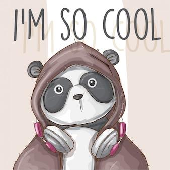 Panda-vettore sveglio animale disegnato a mano