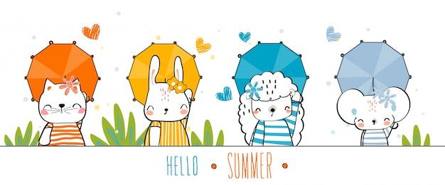 Animali disegnati a mano fauna selvatica carino gesto colorato felice con l'estate tenere l'ombrello al colore del set.
