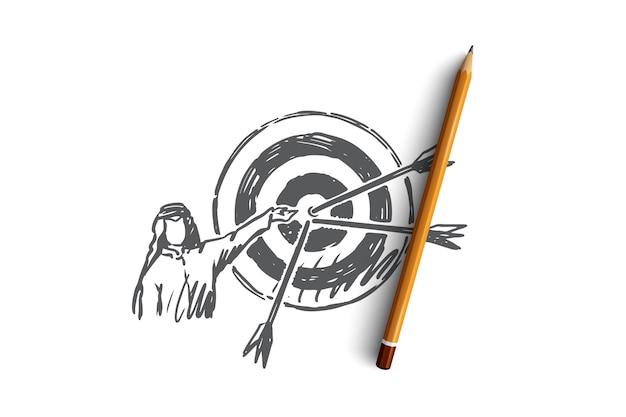 Persona araba disegnata a mano e destinazione con schizzo di concetto di frecce