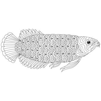 Disegnato a mano di pesce arowana in stile zentangle