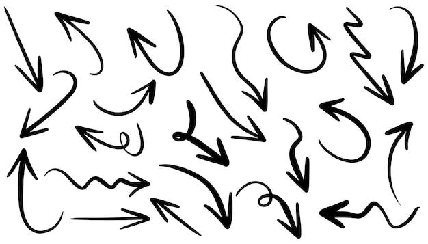 Insieme dell'icona della freccia disegnata a mano isolato su priorità bassa bianca. doodle illustrazione vettoriale.