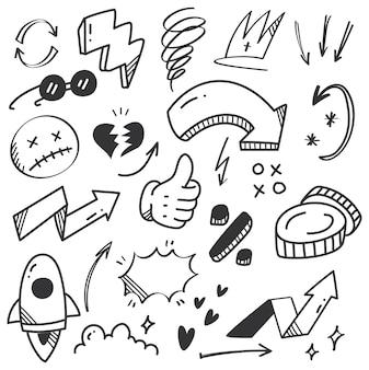 Doodle di scarabocchio freccia disegnata a mano