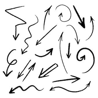 Set di frecce disegnate a mano, raccolta di simboli di schizzo di grunge di direzione nera, elementi di progettazione grafica di illustrazione vettoriale