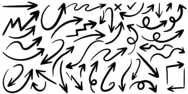 Set di icone vettoriali freccia disegnata a mano.