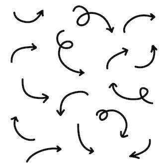 Collezione di frecce disegnate a mano, con varie direzioni. scarabocchio.