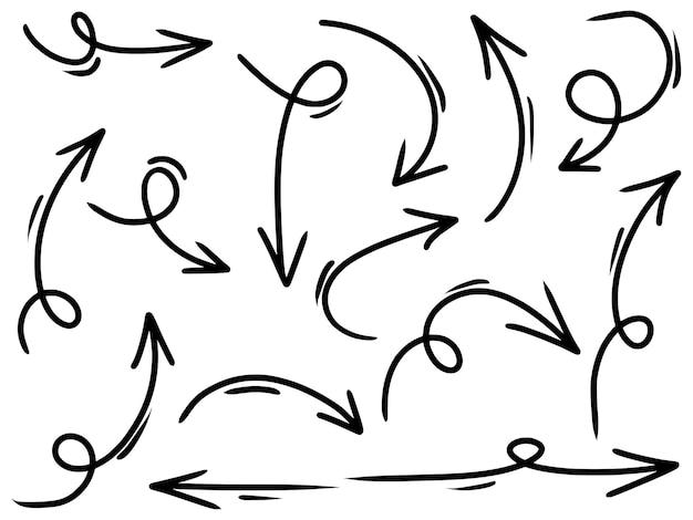 Set di icone frecce disegnate a mano isolato su priorità bassa bianca. illustrazione vettoriale di scarabocchio.