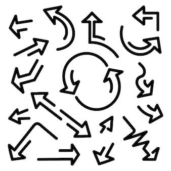 Frecce disegnate a mano, impostato su uno sfondo bianco.