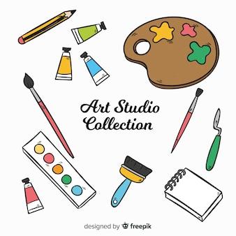 Collezione di elementi di studio artistico disegnato a mano