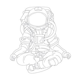 Yoga astronauta disegnato a mano isolato su bianco