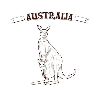 Giorno dell'australia disegnato a mano con canguro madre Vettore Premium
