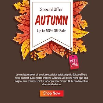 Sfondo autunno disegnato a mano con foglie colorate per lo shopping in vendita