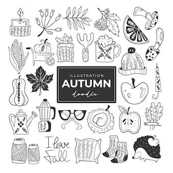 Illustrazioni incolori di scarabocchi autunnali disegnati a mano set di simpatici oggetti vettoriali Vettore Premium