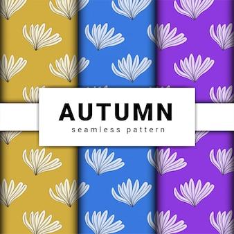 Collezione di temi del modello di design piatto autunno disegnato a mano.
