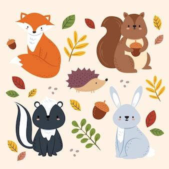 Animali della foresta di autunno disegnati a mano