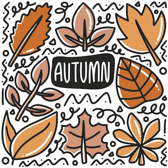 Doodle disegnato a mano foglia d'autunno con icone ed elementi di design