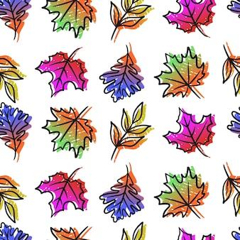 Modello di foglie autunnali disegnato a mano