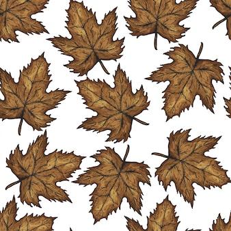 Reticolo senza giunte disegnato a mano delle foglie di autunno