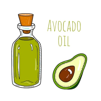 Bottiglia di olio di avocado disegnata a mano