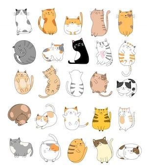 Collezione disegnata a mano del gatto del bambino
