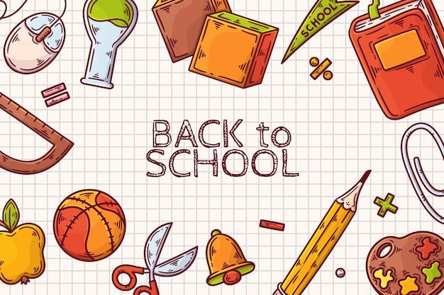 Torna a scuola sfondo disegnato a mano