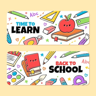 Set di striscioni disegnati a mano per tornare a scuola