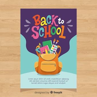 Disegnato a mano torna al modello di carta di scuola Vettore Premium